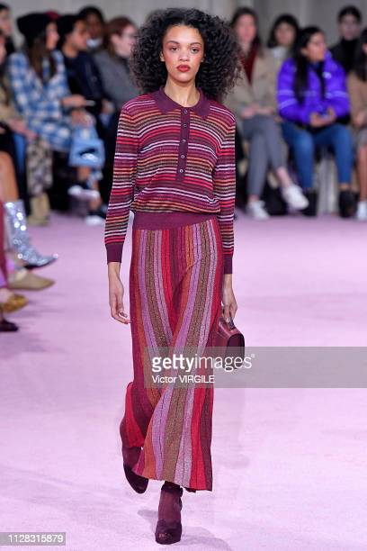 Model walks the runway for the Kate Spade Ready to Wear Fall/Winter 2019-2020 fashion show during New York Fashion Week on February 8, 2019 in New...