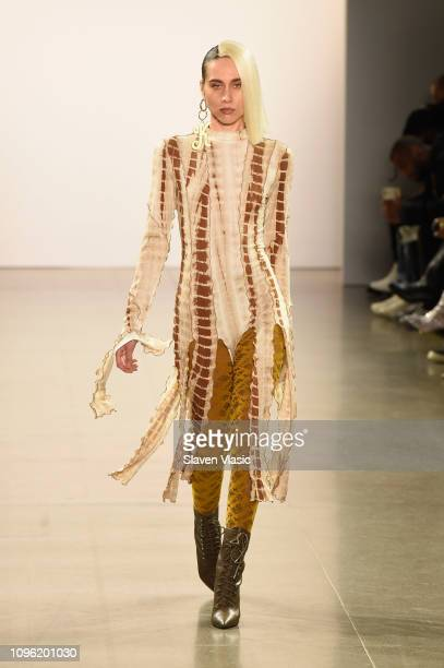 A model walks the runway for the Kim Shui fashion show during New York Fashion Week The Shows at Gallery II at Spring Studios on February 8 2019 in...