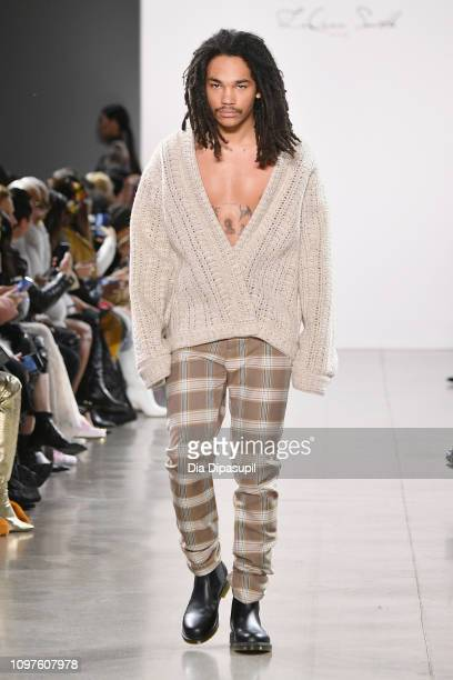 A model walks the runway for the Laquan Smith fashion show during New York Fashion Week The Shows at Gallery II at Spring Studios on February 10 2019...