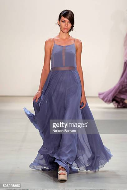 A model walks the runway for the Leanne Marshall fashion show during New York Fashion Week September 2016 at The Gallery Skylight at Clarkson Sq on...