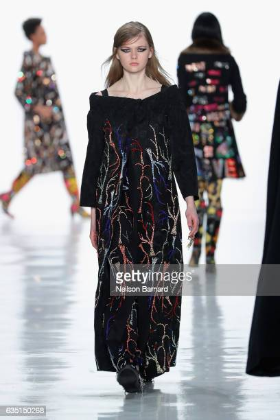 A model walks the runway for the Libertine collection during New York Fashion Week The Shows at Gallery 3 Skylight Clarkson Sq on February 13 2017 in...