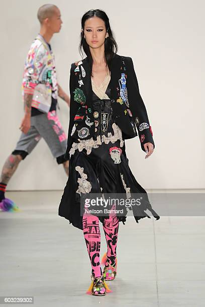 A model walks the runway for the Libertine fashion show during New York Fashion Week September 2016 at The Gallery Skylight at Clarkson Sq on...