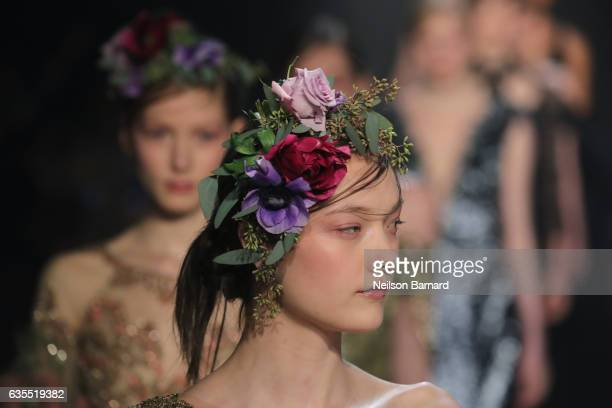 A model walks the runway for the Marchesa collection during New York Fashion Week The Shows at Gallery 2 Skylight Clarkson Sq on February 15 2017 in...