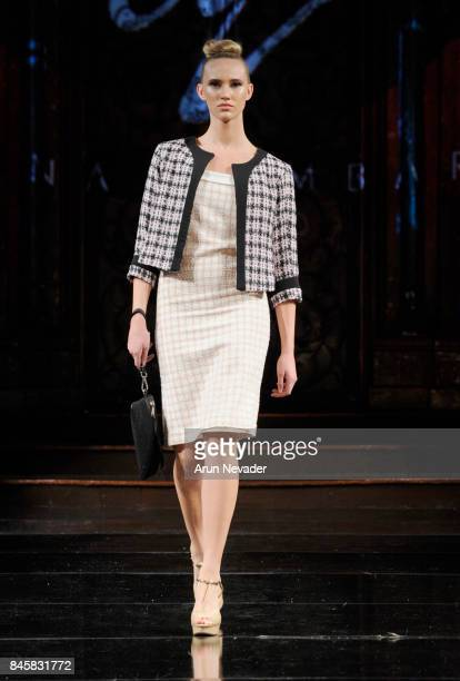 A model walks the runway for the Mena Lombard fashion show during New York Fashion Week NYFW Art Hearts Fashion at The Angel Orensanz Foundation on...