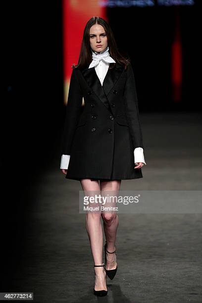 Model walks the runway for the Menchen Tomas collection at the '080 Barcelona Fashion Week 2015 Fall/Winter' at the Museu Maritim of Barcelona on...