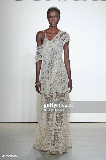 A model walks the runway for the Mimi Prober collection during New York Fashion Week The Shows at Gallery 2 Skylight Clarkson Sq on February 14 2017...