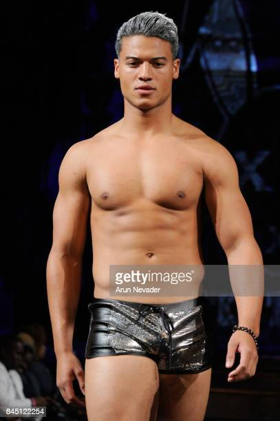 Model JanLuis Castellanos walks the runway for the Mister Triple X Metallix Collection at New York Fashion Week NYFW Art Hearts Fashion at The Angel...