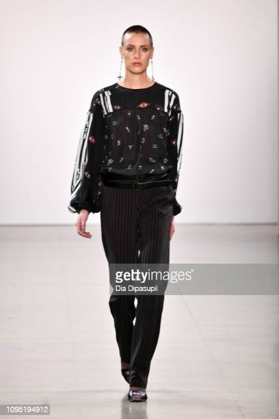 A model walks the runway for the Nicole Miller fashion show during New York Fashion Week The Shows at Gallery II at Spring Studios on February 7 2019...
