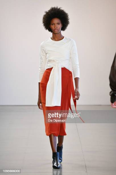 Model walks the runway for the Nonie fashion show during New York Fashion Week: The Shows at Gallery II at Spring Studios on February 8, 2019 in New...