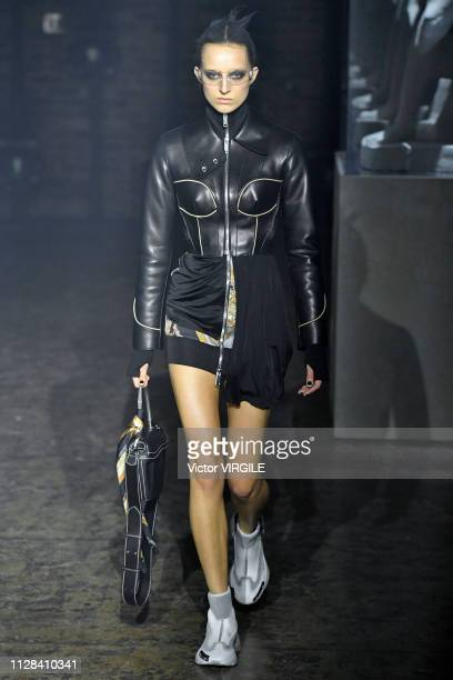 A model walks the runway for the Palm Angels Ready to Wear Fall/Winter 20192020 fashion show during New York Fashion Week on February 8 2019 in New...