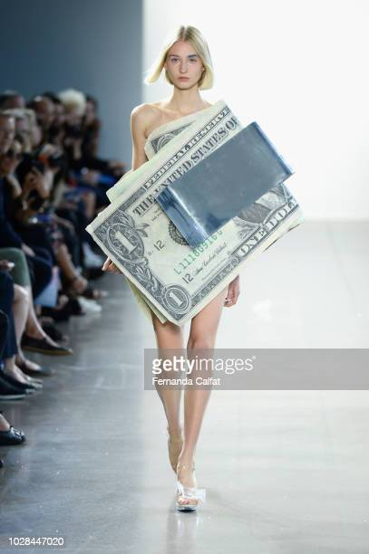 A model walks the runway for the Parsons MDA Fashion Design Society show during New York Fashion Week The Shows at Gallery II at Spring Studios on...