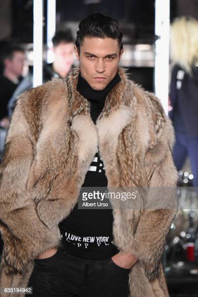 A model walks the runway for the Philipp Plein collection during New York Fashion Week The Shows at New York Public Library on February 13 2017 in...