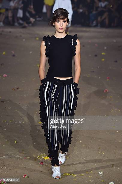 A model walks the runway for the Phillip Lim fashion show during New York Fashion Week September 2016 at The Gallery Skylight at Clarkson Sq on...