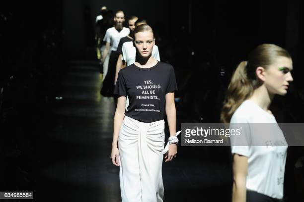 A model walks the runway for the Prabal Gurung collection during New York Fashion Week The Shows at Gallery 1 Skylight Clarkson Sq on February 12...