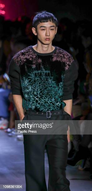 A model walks the runway for the Prabal Gurung Fall/Winter 2019 collection during New York Fashion Week at Spring Studios Manhattan