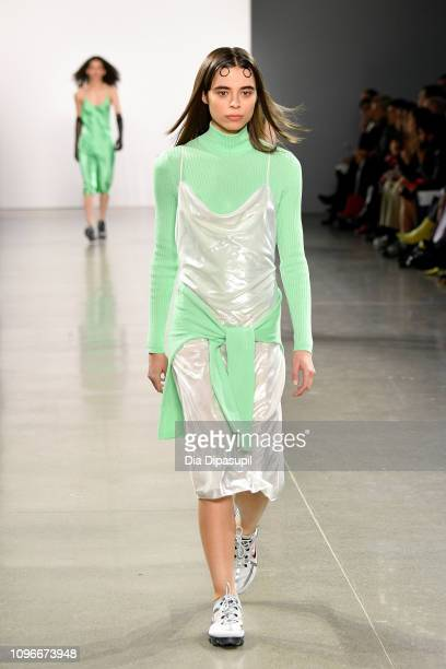 Model walks the runway for the PRISCAVera fashion show during New York Fashion Week: The Shows at Gallery II at Spring Studios on February 9, 2019 in...