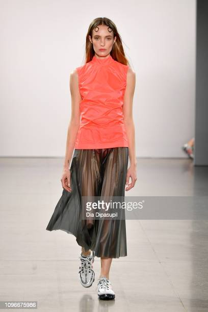 A model walks the runway for the PRISCAVera fashion show during New York Fashion Week The Shows at Gallery II at Spring Studios on February 9 2019 in...