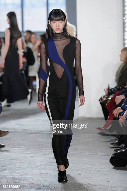 A model walks the runway for the Proenza Schouler collection during New York Fashion Week The Shows on February 13 2017 in New York City