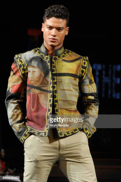 Model JanLuis Castellanos walks the runway for the Rocky Gathercole fashion show during New York Fashion Week NYFW Art Hearts Fashion at The Angel...