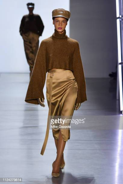 A model walks the runway for the Sally LaPointe fashion show during New York Fashion Week The Shows at Gallery I at Spring Studios on February 12...