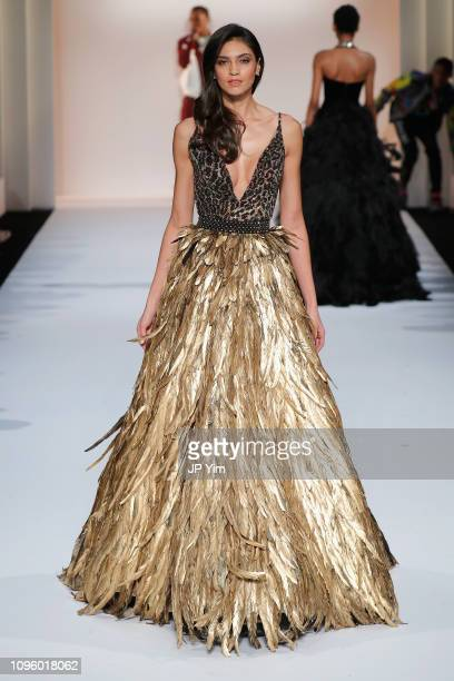 A model walks the runway for the Sherri Hill Show during New York Fashion Week February 2019 on February 8 2019 in New York City