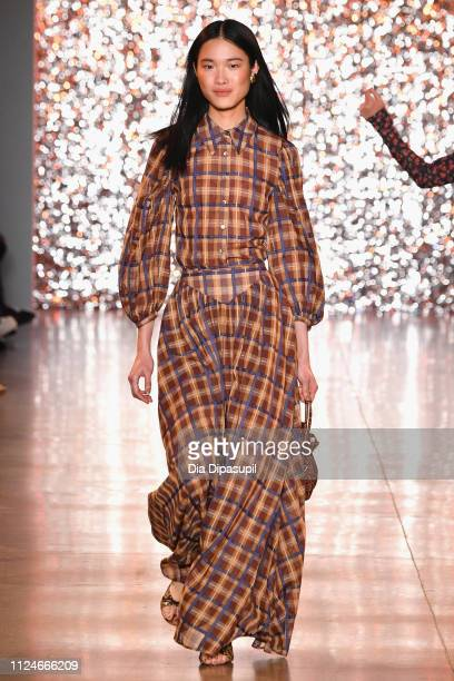A model walks the runway for the Staud fashion show during New York Fashion Week The Shows at Gallery II at Spring Studios on February 13 2019 in New...