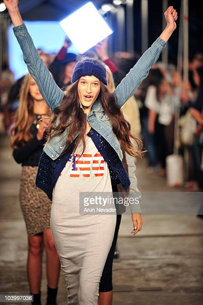 A model walks the runway for the Teen Vogue celebration of Fashion's Night Out at West Village Bleecker Street on September 10 2010 in New York City