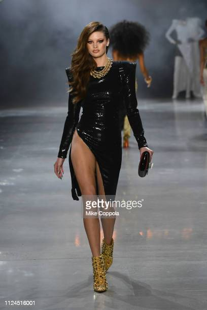 A model walks the runway for the The Blonds fashion show during New York Fashion Week The Shows at Gallery I at Spring Studios on February 12 2019 in...