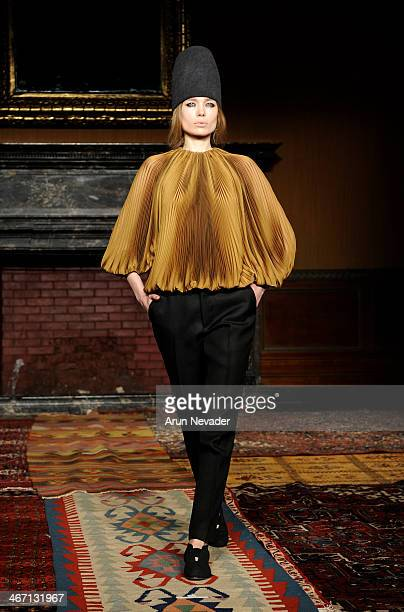 A model walks the runway for the Tia Cibani show during Mercedes Benz Fashion Week at Prince George Ballroom on February 5 2014 in New York City