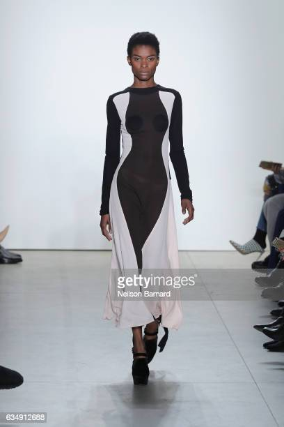 A model walks the runway for the Tome collection during New York Fashion Week The Shows at Gallery 2 Skylight Clarkson Sq on February 12 2017 in New...