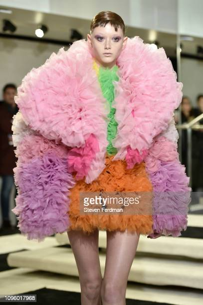 Model walks the runway for the Tomo Koizumi fashion show during New York Fashion Week at Marc Jacobs Madison on February 8, 2019 in New York City.