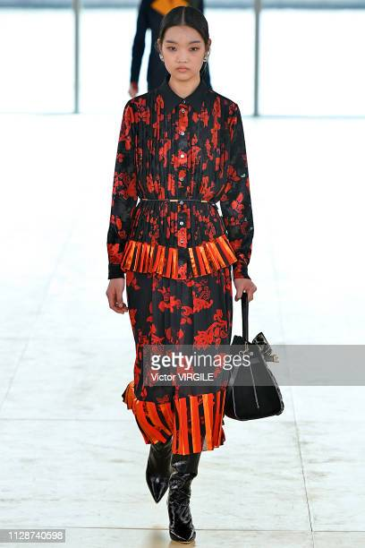Model walks the runway for the Tory Burch Ready to Wear Fall/Winter 2019-2020 fashion show during New York Fashion Week on February 10, 2019 in New...