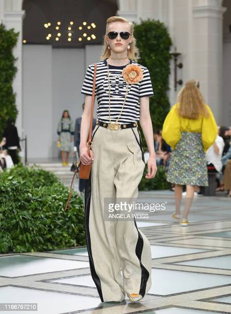 Model walks the runway for the Tory Burch Spring/Summer 2020 show during New York Fashion Week: The Shows at the Brooklyn Museum on September 8, 2019...