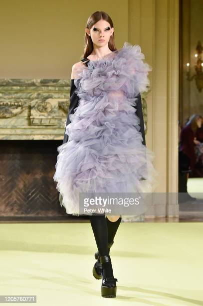 Model walks the runway for the Vera Wang fashion show during February 2020 - New York Fashion Week on February 11, 2020 in New York City.