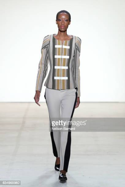 Model walks the runway for the Vivienne Hu collection during, New York Fashion Week: The Shows at Gallery 2, Skylight Clarkson Sq on February 12,...