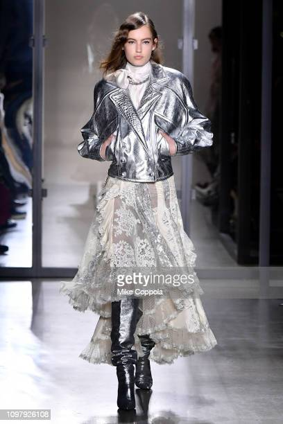 Model walks the runway for the Zimmermann fashion show during New York Fashion Week: The Shows at Gallery I at Spring Studios on February 11, 2019 in...