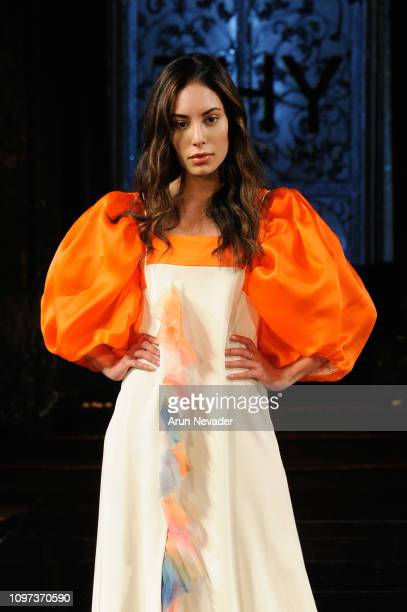 A model walks the runway for THY At New York Fashion Week Powered By Art Hearts Fashion NYFW at The Angel Orensanz Foundation on February 10 2019 in...
