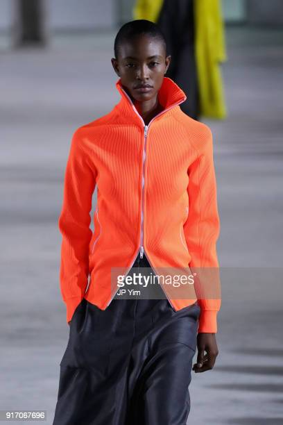 A model walks the runway for Tibi during New York Fashion Week The Shows at Pier 17 on February 11 2018 in New York City