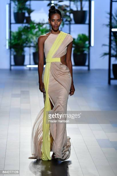 A model walks the runway for TRESemme at Cushnie et Ochs NYFW during New York Fashion Week at Skylight Clarkson Sq on September 8 2017 in New York...