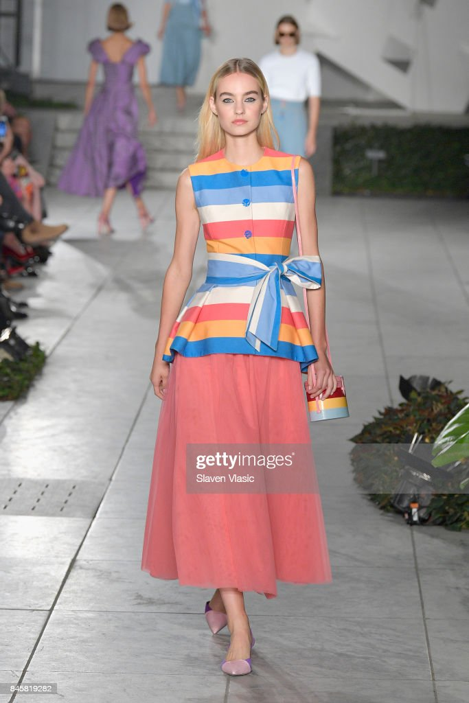 A model walks the runway for TRESemme Carolina Herrera fashion show during New York Fashion Week at The Museum of Modern Art on September 11, 2017 in New York City.