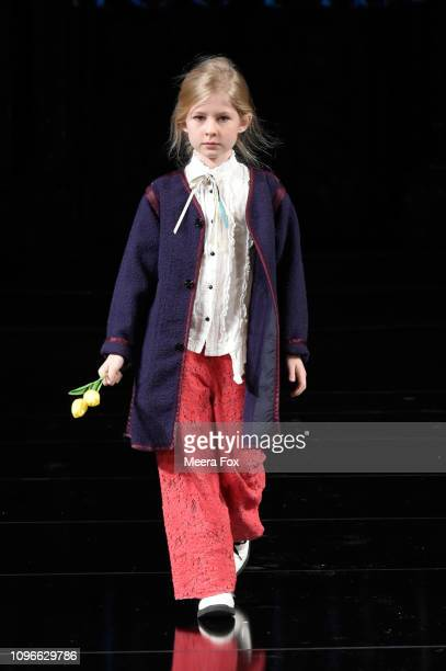 A model walks the runway for TRICO FIELD At New York Fashion Week Powered By Art Hearts Fashion NYFW at The Angel Orensanz Foundation on February 9...