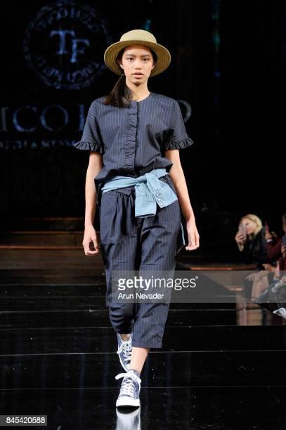 A model walks the runway for Trico Field fashion show during New York Fashion Week NYFW Art Hearts Fashion at The Angel Orensanz Foundation on...