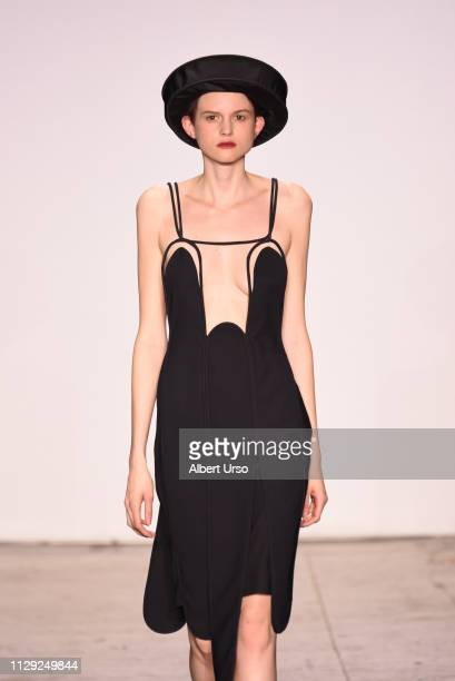 A model walks the runway for Turkish Designers Ece Kavran during New York Fashion Week The Shows at Industria Studios on February 12 2019 in New York...