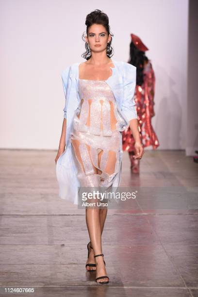 A model walks the runway for Viktoria Tisza at the The CAAFD Emerging Designer Showcase Fashion Show during New York Fashion Week The Shows at...