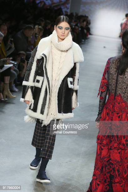 A model walks the runway for Vivienne Tam during New York Fashion Week The Shows at Gallery I at Spring Studios on February 13 2018 in New York City