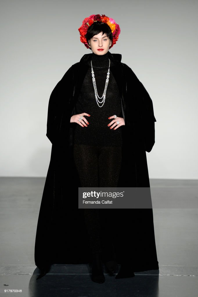 A model walks the runway for Zang Toi during New York Fashion Week: The Shows at Pier 59 on February 13, 2018 in New York City.
