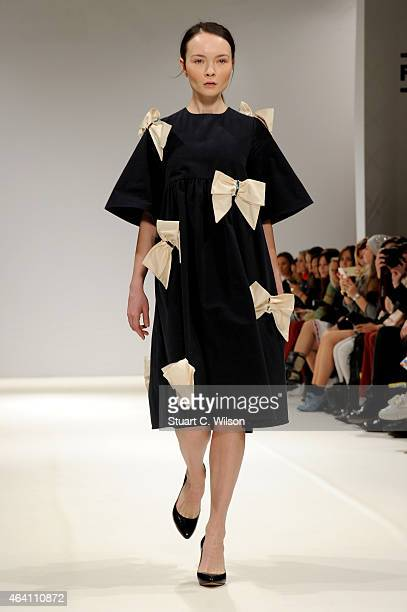 A model walks the runway from designer Anna K at the Kiev Fashion Days show during London Fashion Week Fall/Winter 2015/16 at Fashion Scout Venue on...