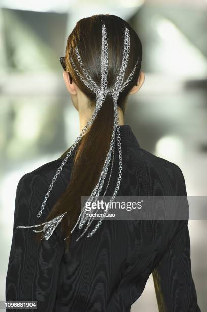 A model walks the runway hair detail for the Christian Siriano fashion show during New York Fashion Week The Shows at Top of the Rock on February 9...