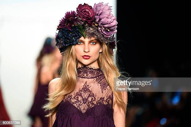 A model walks the runway headdress detail at the Michael Costello fashion show during New York Fashion Week The Shows September 2016 at The Dock...