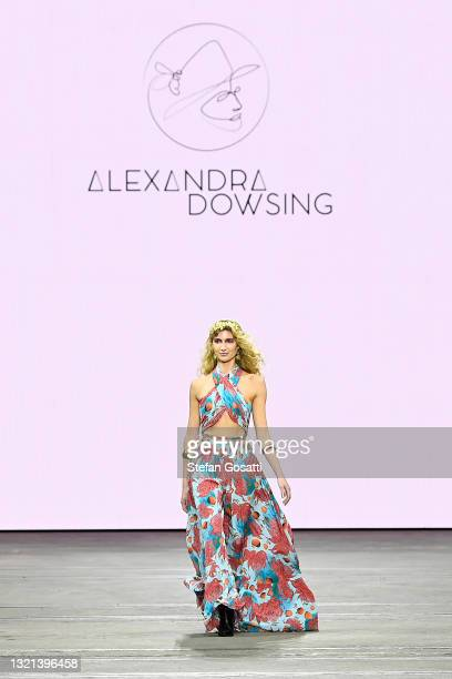 Model walks the runway in a design by Alexandra Dowsing during The Innovators: FDS TAFE NSW show during Afterpay Australian Fashion Week 2021 Resort...